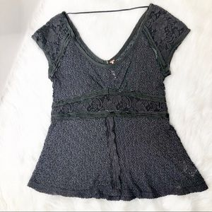 Free People gray lace button back peplum top